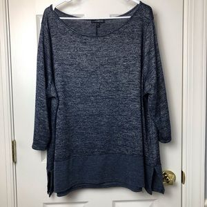 Lane Bryant 22/24 Blue and Silver 3/4 Sleeve Top